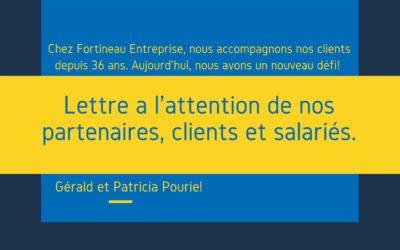 Lettre à l'attention des nos partenaires, clients et salariés -Fortineau entreprise